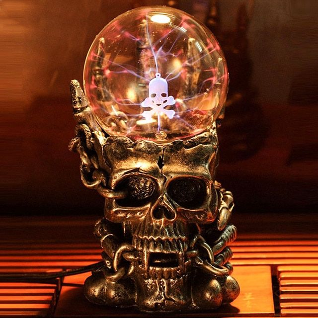 Supernatural Skull Head Magic Glass Ball Night Light Novelty Lamp New Light-emitting Tatic Plasma Touch Table Lights Luminaria