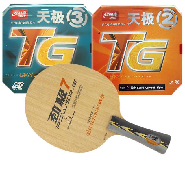 Original DHS POWER.G7 PG.7 blade + NEO Skyline TG2 and NEO Skyline TG3 rubber with sponge for a racket Long Shakehand FL