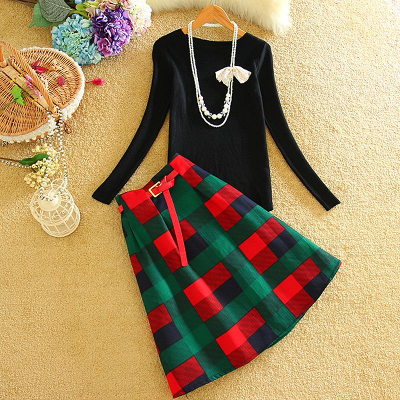 Autumn Fashion Knitted Skirt Suit 2016 Winter Long Sleeve Skirts Suits 2 Piece Set Women Knit Top And Polyester Plaid Skirt Sets