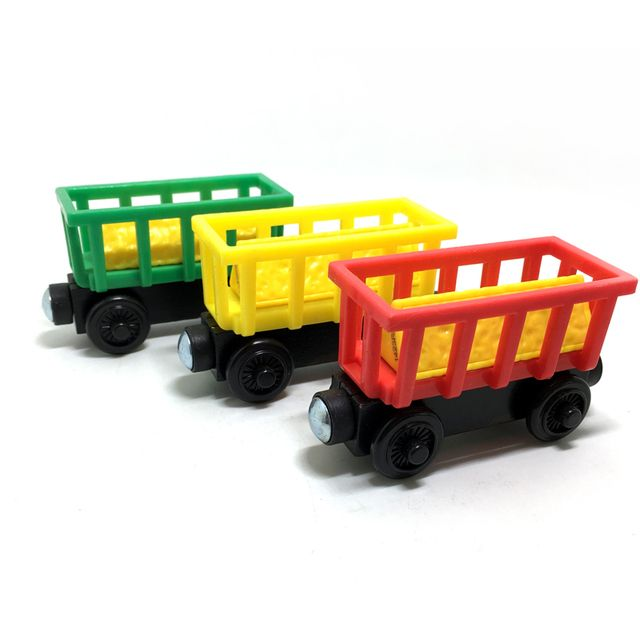 w12 Free shipping Wooden Train Magnetic Toys Thomas & Friends Multiple  color Triangular cargo circus Train Children Track game