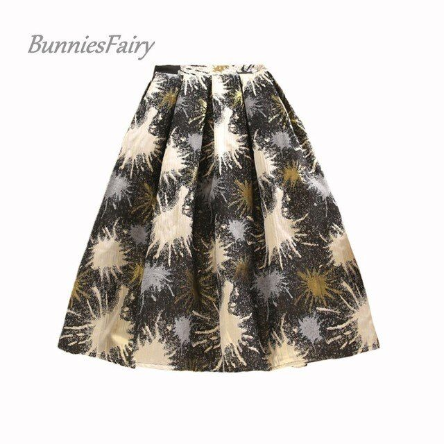 BunniesFairy 2016 Autumn Winter New Hepburn Vintage Style Women Flower Floral Print High Waist Midi Skirt Jarquard Fabric Falda