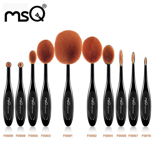 MSQ New Arrival 10pcs Oval Shape Makeup Brush Set  Professional Foundation Powder Brush Kits