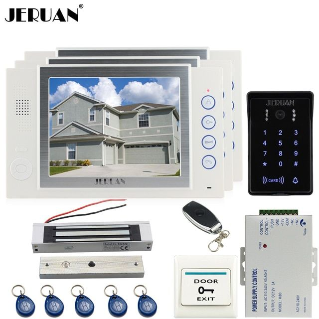JERUAN 8 inch video door phone Record intercom system kit 2 monitor New RFID waterproof Touch Key password keypad Camera 8G SD