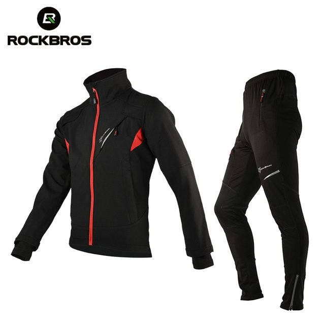 ROCKBROS Winter Fleece Cycling Sets Bicycle Thermal Jacket Men's Bike Trousers Cycling Bike Bicycle Clothing Sportswear