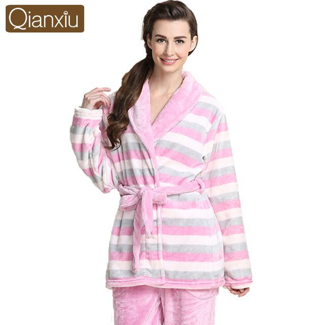 Qianxiu Brand Pajamas  Thicken Mink Wool Pajama Set Women Thicken Robe Homedress