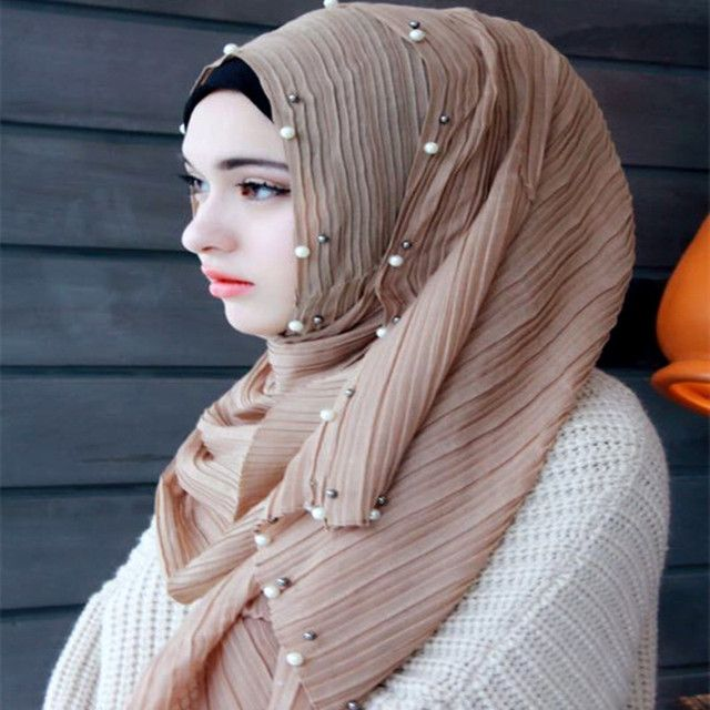 women's crumple   pearl shawls beaded headband  hijab fashion wrap  long muslim scarves/scarf 20pcs/lot