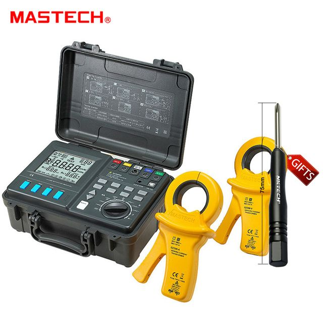 MASTECH MS2307 Intelligent Earth Resistance Tester Meter USB2.0 Port with 2 Clamps and 4 Current Leakage kit