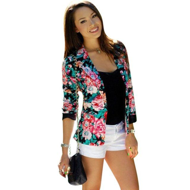 Women One Button Jacket Slim Casual Business Blazer Suit Floral Coat Outwear LH7s