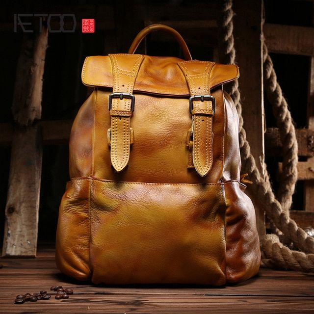 AETOO  New wipes leisure leather shoulder bag Korean fashion fashionable women's first layer of leather backpack