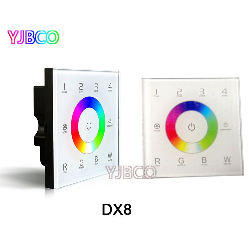 DX8 AC110V-240V 4 Zones 2.4G DMX512 control master RGBW LED rgbw touch panel wall mounted controller ,for LED rgbw strip panel