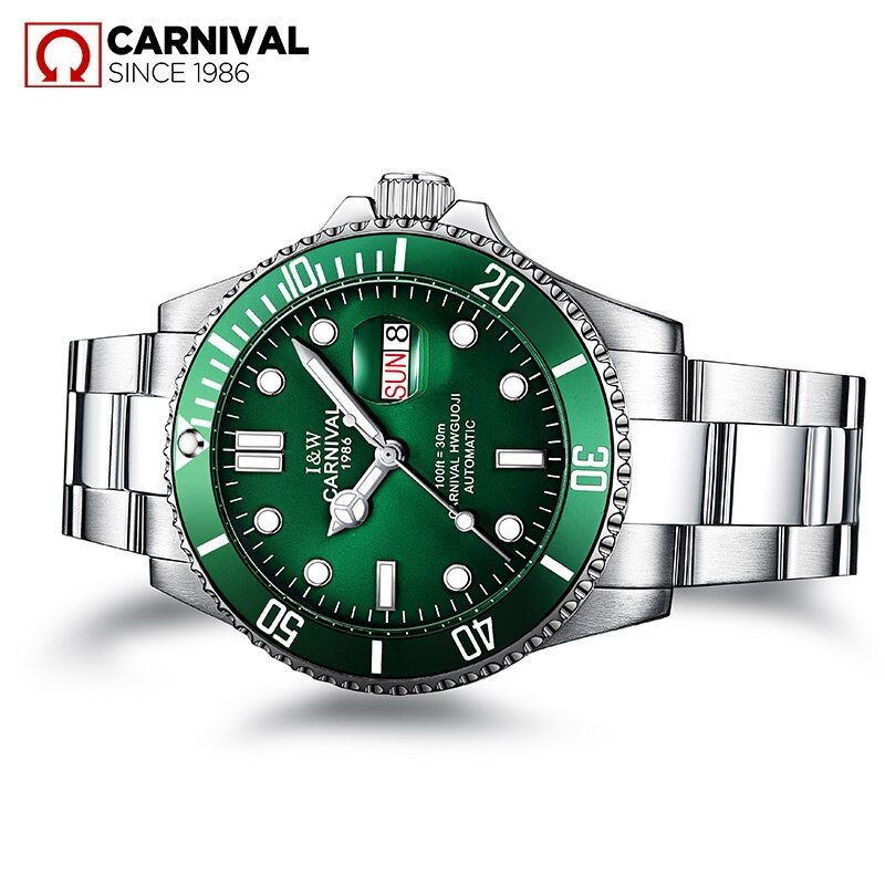 Hot Sale CARNIVAL Mens Watches Top Brand Luxury Sapphire Glass waterproof Automatic Mechanical Watch Men Sport Role Style Watch