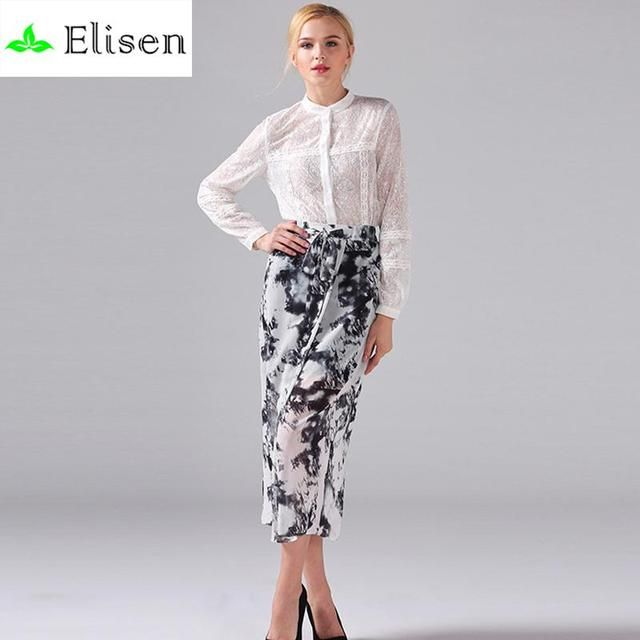 Novelty Lace Twinset 2016 SpringFull Sleeve White Hollow Single Breasted Blouse + Blooming Print Lacing Skirt Women Formal