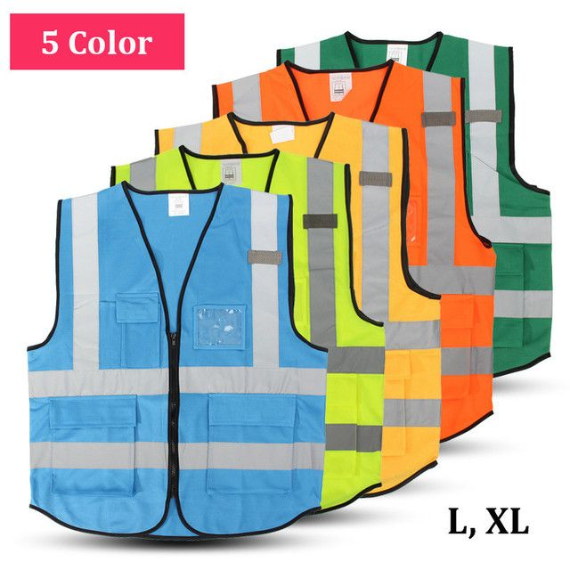 High Visibility Clothing Clothing Safety Reflective Vest L,XL,5 Color Night Work Security Traffic Cycling