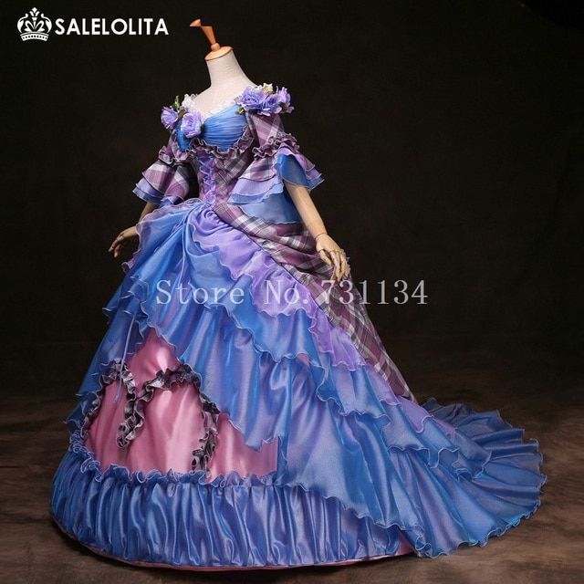 High-end Blue Cinderella Gowns Marie Antoinette Party Dress 17th 18th Century Party Dress Costumes For Women Customized