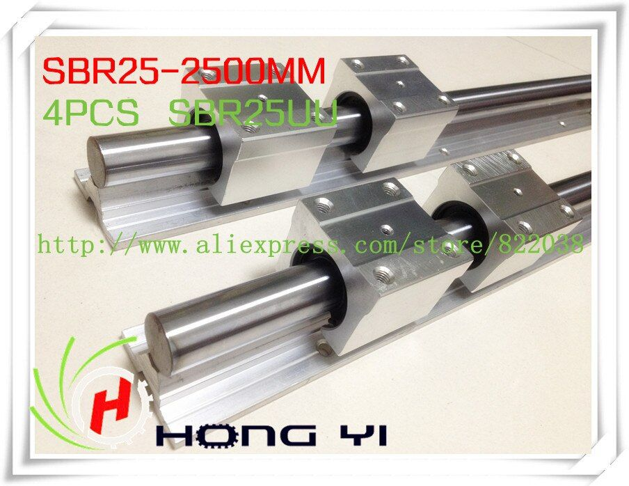2pcs SBR25 -L2500mm linear bearing rails shaft support + 4pcs SBR25UU Linear slide for Built CNC Router Machine