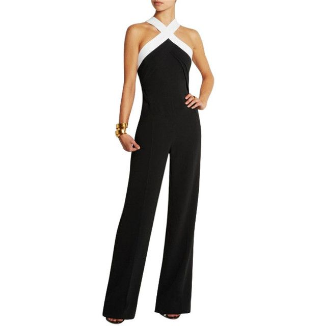 Women Clubwear Halter Sleeveless Playsuit Bodycon Party Jumpsuit Romper Trousers