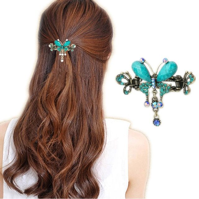 Vintage Women Elegant Turquoise Butterfly Flower Hairpins Hair Barrettes Clip Crystal Butterfly Bow Hair Clip Hair Accessories