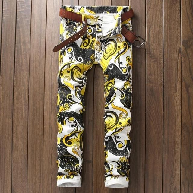 Men's New Geometric Flower Print Jeans High Quality Casual Personality Cotton Denim Skinny Pants #580