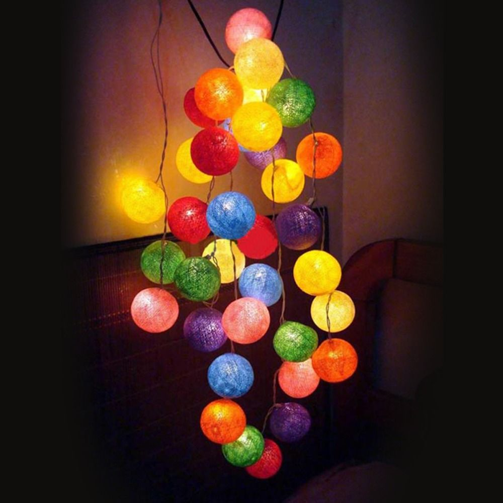 With Switch Romantic Lovely Handmade Multicolor Christmas Cotton Ball String Light Xmas Festival Wedding Decration AC110V/220V