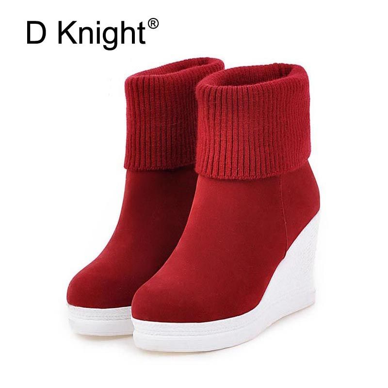 Women Platform Wedges Ankle Boots Fashion Round Toe Slip-on Winter Boots Ladies Casual High Heels Winter Shoes Size 34-43 Boots