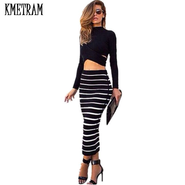 Celebrity High Street Fashion Designer Clothing Set Women's Sexy Long Sleeve Top + Ethnic Striped Pencil Skirt Suit Sets A0448
