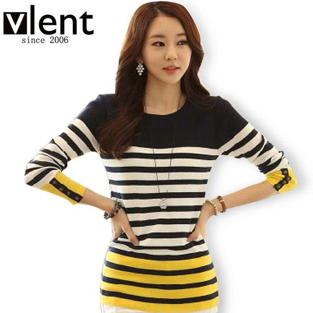 Knitted Cotton Winter Women's blusas feminina 2015 autumn patchwork long sleeve shirt female striped ladies top RD232