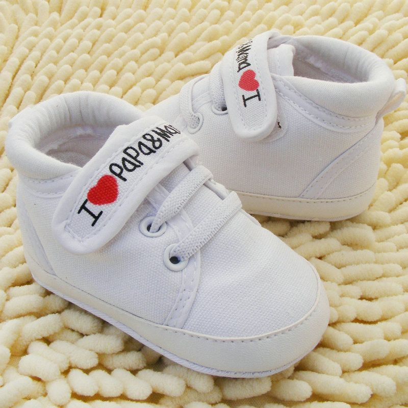 New Cute Baby Kids Boys Girls Casual Toddler Shoes Infant Crib Shoes Lace Up Sneaker I Love Papa Mama Canvas