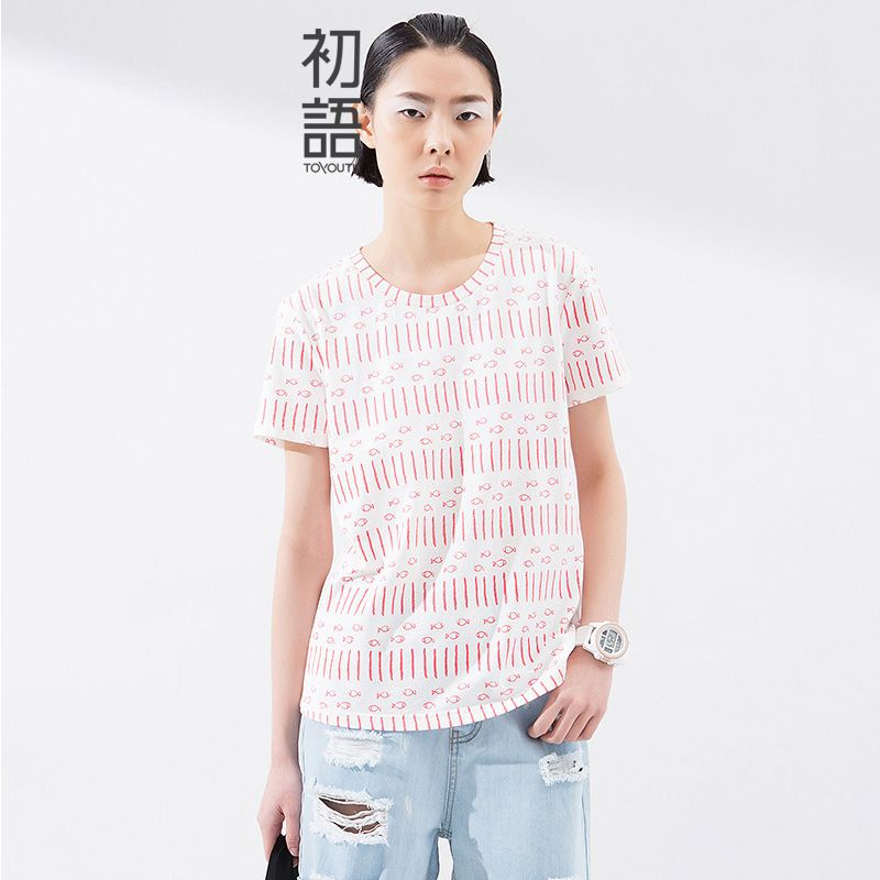 Toyouth Summer Tee Top Women Fashion O-Neck Printed Loose Casual Stripe High Quality Female T-Shirt