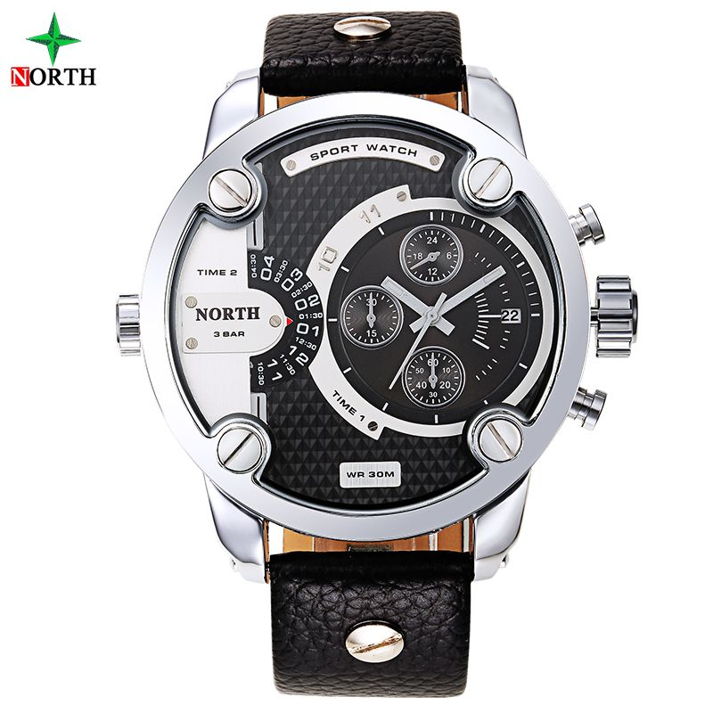Men Sports Watch Quartz Military Watches Men Luxury Brand Leather Oversize Dual Time Clock Men 30M Waterproof Sport Wristwatch