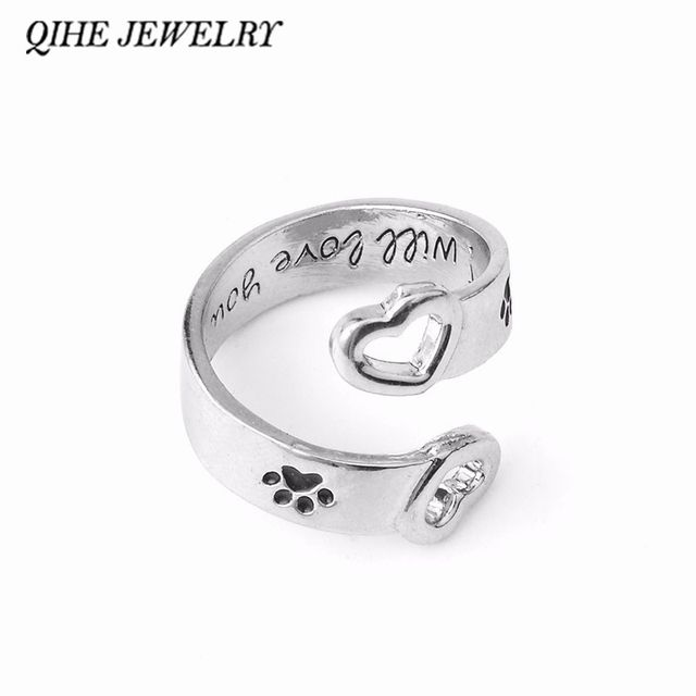"QIHE JEWELRY Paw Foot Hollow Heart Wrap Around""I will love you forever"" Personalized Ring Love Pet Memorial Jewelry"