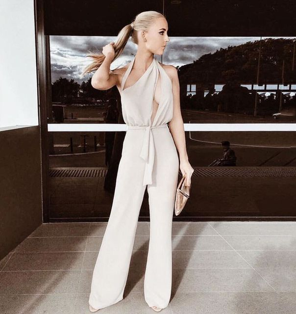 Style No. P107 cut out on the bust women pantsuit with belt