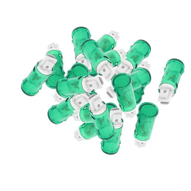 20 Pcs Dc24v Ac220v Plastic 12.7Mm Mount Dia Round Indicator Pilot Light Green