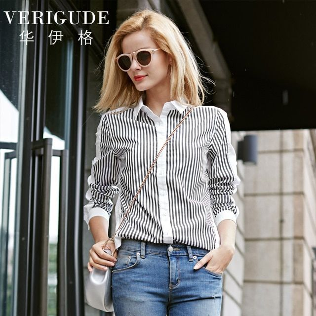 Veri Gude New Striped Shirt Women Slim Fit Cotton Blouse Contrast Color Patchwork 2017 Spring Casual Style Women Shirt HJC-Q8422