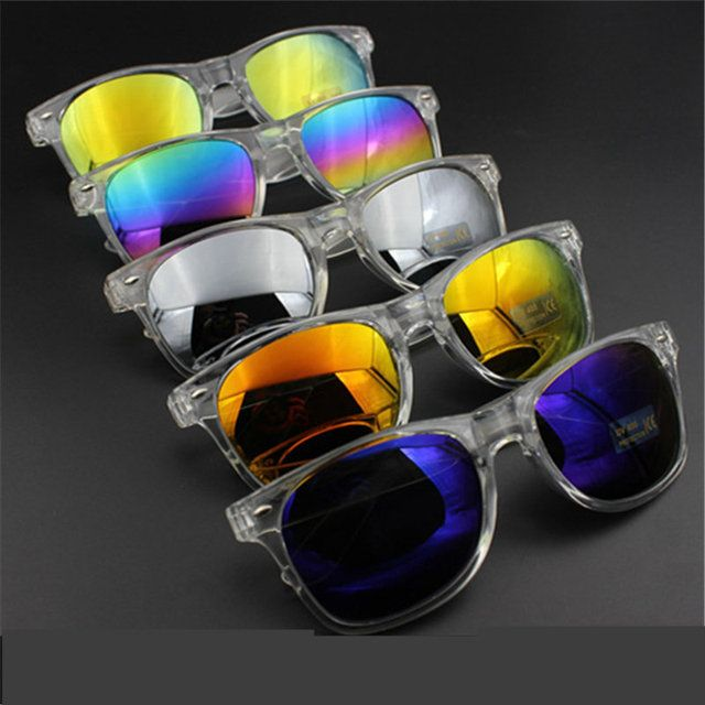 (5 Colors)HOT Vintage Retro Female Sunglasses Clear Frame Coating Sun Glasses For Women Brand Designer Women's Glasses goggles