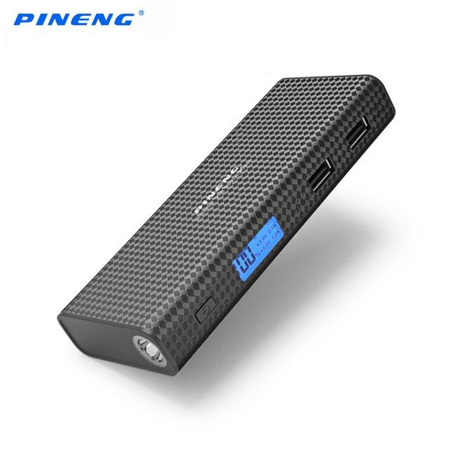PINENG Power Bank 10000mAh For Xiaomi Dual USB Ports LCD Display Fast Charging Portable Powerbank for iPhone Huawei Phone Tablet