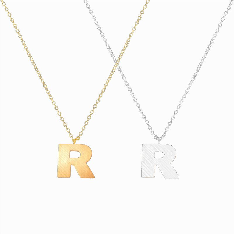 Trendy Alphabet Capital R Letter Pendant Necklace For Women Gold Color Stainless Steel Personalized Initial Letter R Necklaces