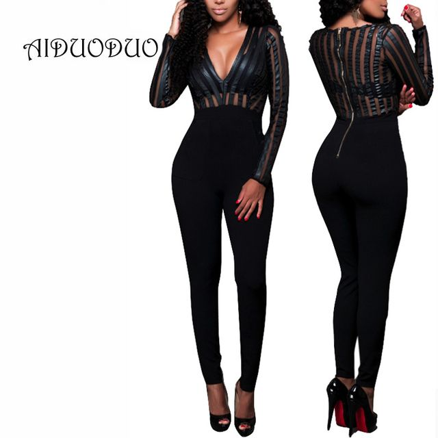 2016 Women Bodysuit Sexy V Neck Mesh Black Bodycon Jumpsuits Autumn Rompers Womens Jumpsuit Long Sleeve Full Length Overalls