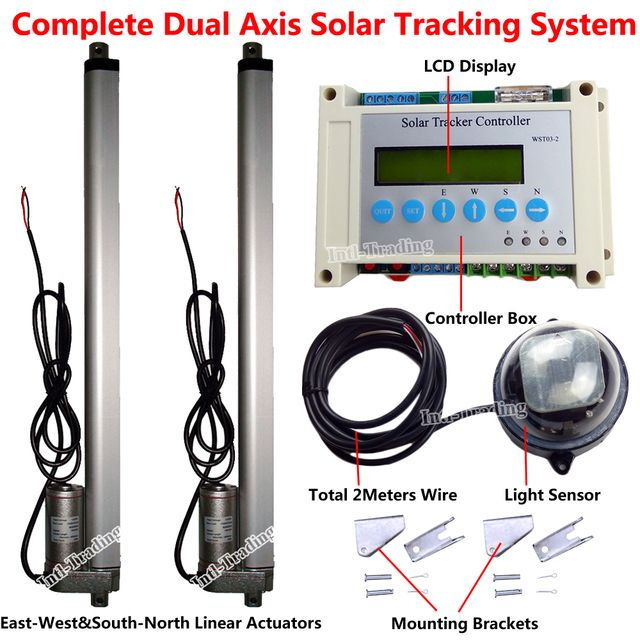 "1KW Solar Tracker Tracking System Dual Axis Complete Kits W/ 2PCS 12V 16"" Linear Actuators W/ Electric Controller &Light Sensor"