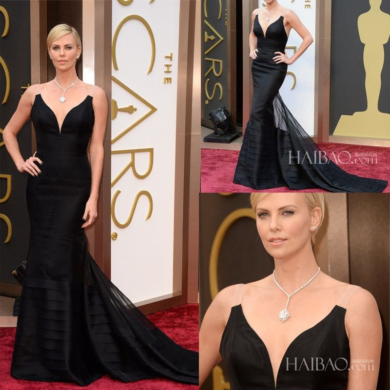 Charlize Theron Deep V Neck Black Color Tiers Mermiad Court Train Celebrity Dresses 2014 Oscar Awards