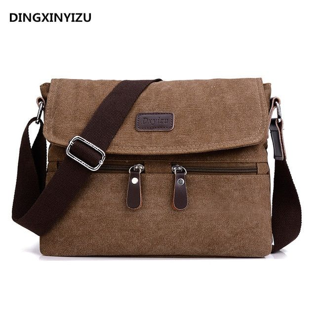 Men 's canvas shoulder bag multi - functional men' s travel leisure diagonal package solid color zipper handbag packaging