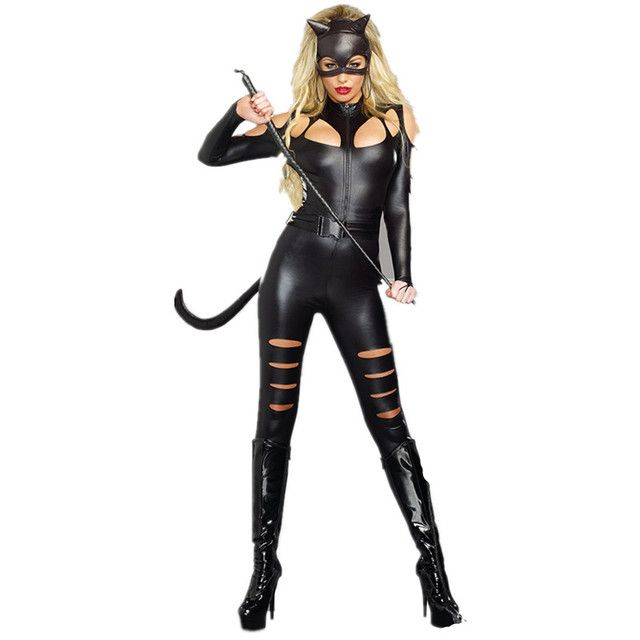 New Sexy Faux Leather Bodysuit Women Jumpsuit Halloween Cosplay Costumes Black Vinyl Catwoman Outfit Uniform hollow out Catsuit