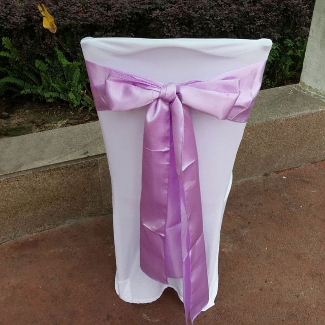 "DHL/EMS Free, 100 pcs/lot Lavender 6""x108"" Chair Bands Satin Chair Sash Bow Wedding Banquet Supply Decoration"