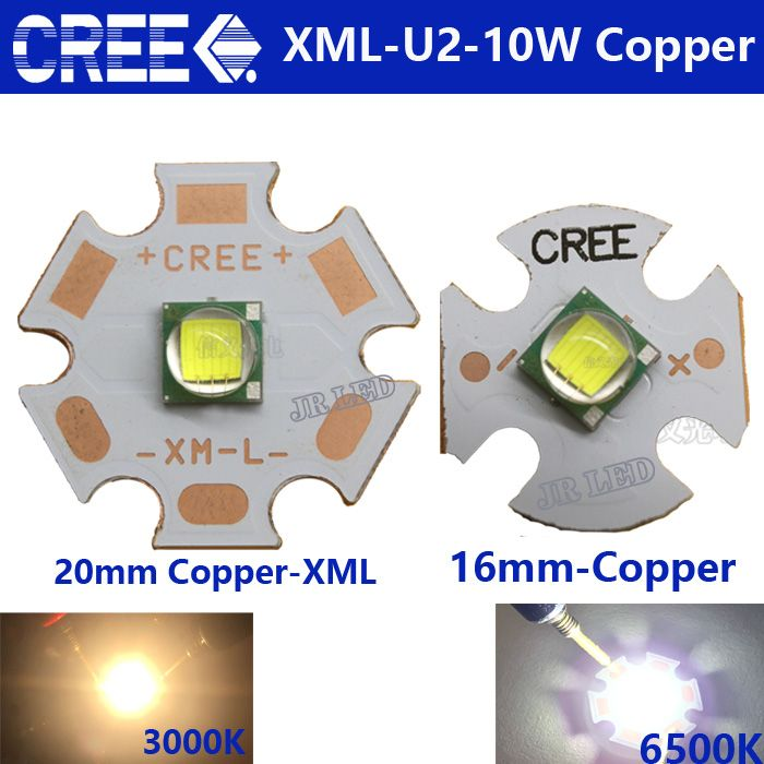 2 PCS CREE XML LED XML U2 10W WHITE White Warm White High Power LED Emitter with  16mm 20mm PCB Copper plate