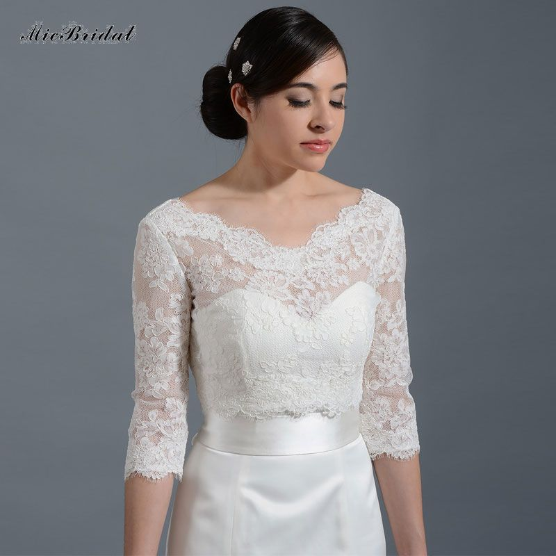 MJ-7 Romantic Tulle Bolero Wedding Jackets Buttons Wraps Bolero Bridal Accessories