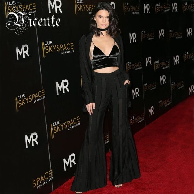 Free Shipping! Chic Striped Mesh Bell Bottom with Belt Three-Piece Set Red Carpet Celebrity Wholesale Women Bandage Set VJ128