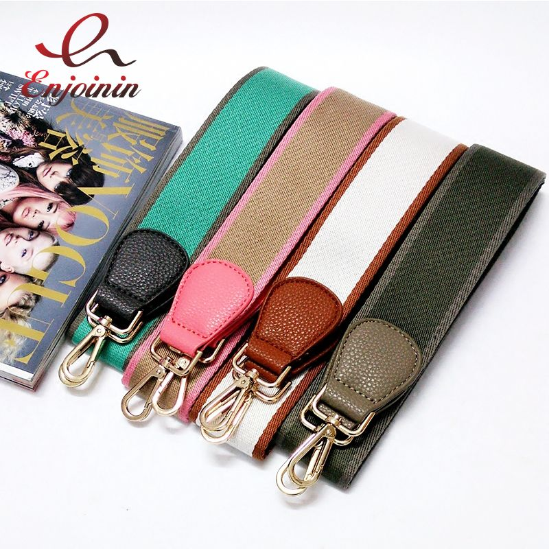 New arrival classic fashion pu leather stitching canvas hit color ladies handbag shoulder strap belt bag accessories bag parts