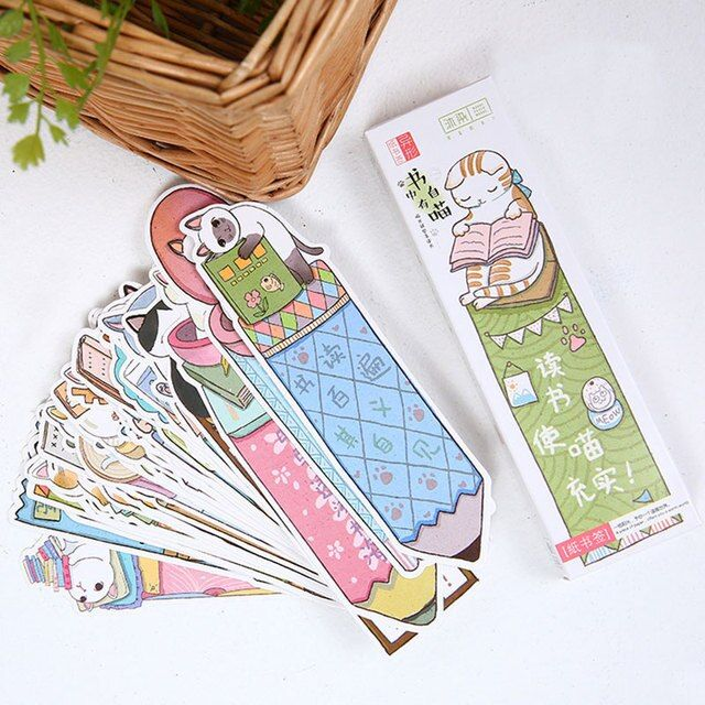 30 pcs/box creative Lovely Cute cat bookmark stationery bookmarks Kawaii Cartoon Promotional Gift  school supplies papelaria