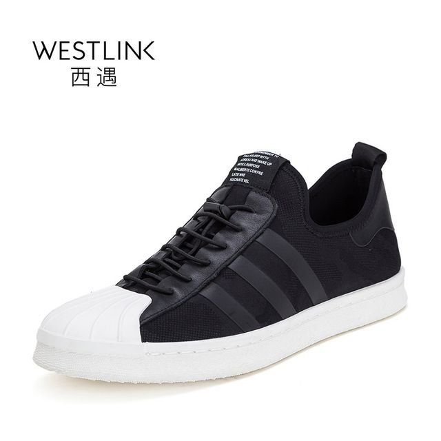 Westlink Round Shell Toe Stitching Stripe Casual Lace-up Flat Vulcanize Shoes Men Comfortable Black 2017 Summer New