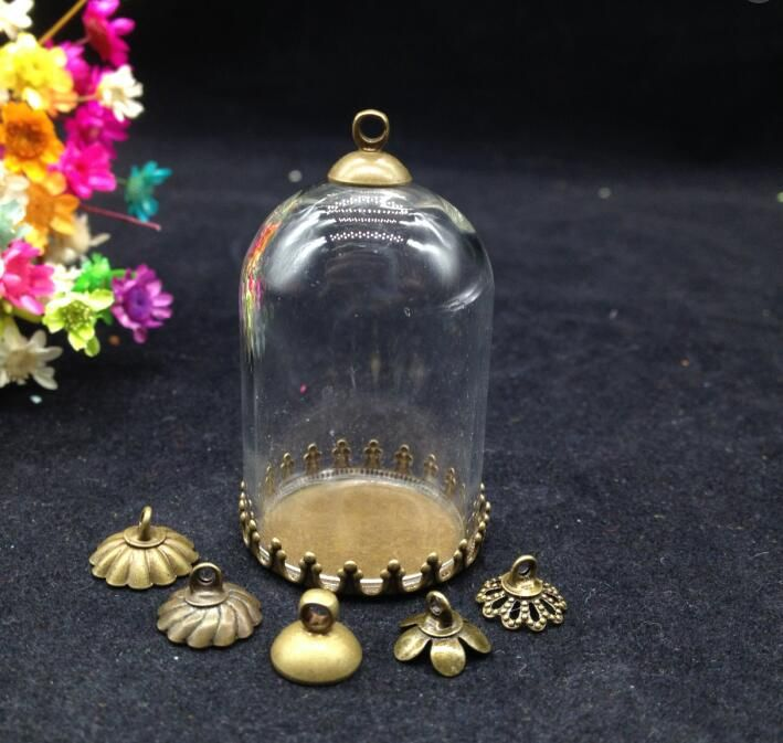 5sets/lot 38*25mm tube glass globe bronze plated tiny crown tray glass vial pendant fashion necklace pendants jewelry glass dome