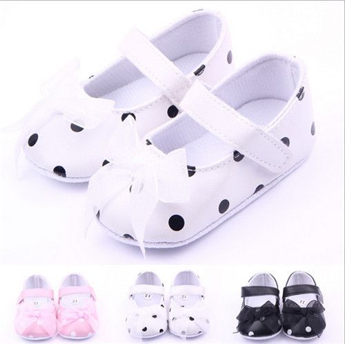 Fashion Lovely Dots Baby Shoes First walkers Newborn Soft Sole Shoes Bowknot Infants Girls Princess Shoes